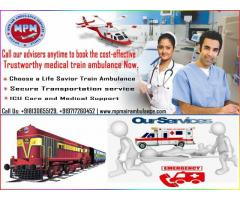 Get Hire Less Expensive Train Ambulance from Patna to Delhi by MPM