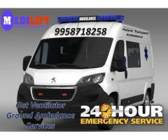 Get an Immediate Ventilator Ground Ambulance Service in Hatia by Medilift