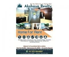 Akshaya Realty Presents an Opulent 2BHK Apartment for Rent with state of art facilities