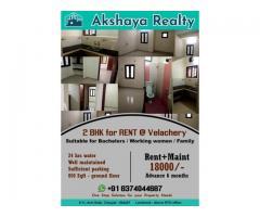 Opulent 2BHK rental house for Bachelors, Working Women , Family in Velachery