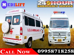 Get Medilift Road Ambulance Service in Jamshedpur with Doctor and ICU Facility