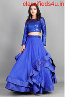 Buy Royal Blue Multi Skirt with Sequins Top for Women
