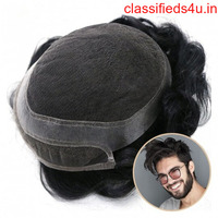 Simois Hair System for Men Full Lace in Center with 1'' Thin Skin Around and 1/2'' Lace in the Front