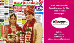 Get Times of India Matrimonial Classified Advertisement Rates