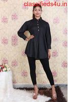Buy Solid Black Short Kurti for Women Online