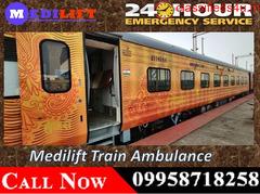 Get Medilift Train Ambulance Service in Gorakhpur with Medical Equipment
